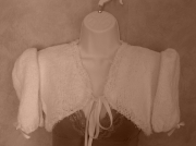 art textile mode autres bolero tricot fillette vetement : Bol�ro fillette blanc noeud ruban